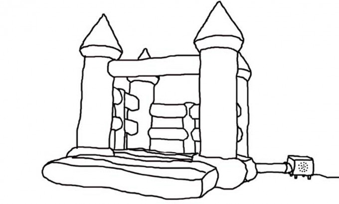 Bouncy Castle Drawing Sketch Coloring Page